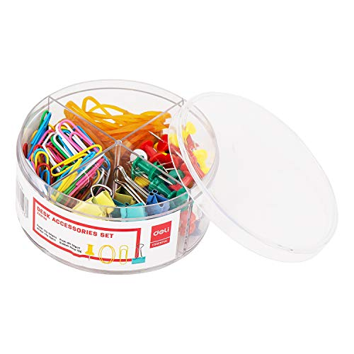 Deli Paper Clips Binder Clips, Colored Office Clips Set, Colored Paperclips Push Pins Binder Clips Rubber Band for Office and School Supplies, Document Organizing