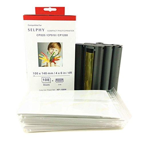 KP-108IN - Juego de Tinta y Papel de Color (108 Hojas y 3 tintas) Compatible con impresoras SELPHY CP1300 CP800 CP810 CP820 CP900 CP910 CP1200 ES1 ES2 CP200 CP1000 KP-108IP