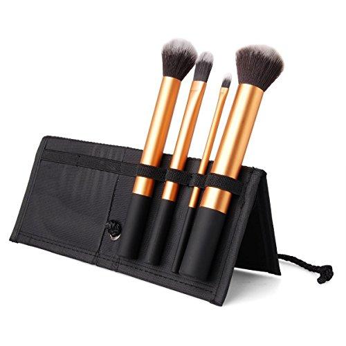Ensemble De 4 Brosses Maquillage - Cheveux Synthétiques, Poignée En Aluminium, Étui En Tissu - Noir by DELIAWINTERFEL