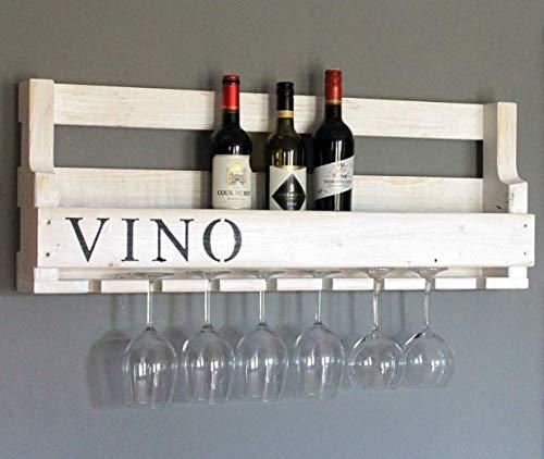 Weinregal aus Holz für die Wand - mit Gläserhalter und VINO Schriftzug - Weiß - fertig montiert - Regal für Weinflaschen und Weingläser