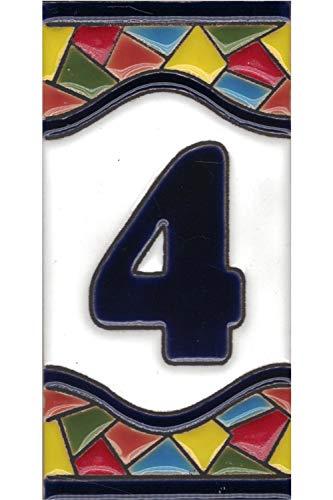 Números casa exterior - Placa Puerta - Cerámica esmaltada - Pintados a Mano con la técnica de la cuerda seca - Nombres y direcciones - Modelo Grande Mosaico 7,5 cms x 15 cms (Número Cuatro'4')