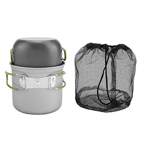 2Pcs / set Portátil Premium Aleación de aluminio Resistente a altas temperaturas Resistente a la corrosión Sólido Durable Plegado Ligero Olla Utensilios de cocina Barbacoa al aire libre Viaje Camping
