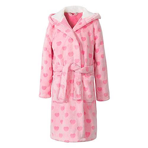 home swee Girls Fleece Bath Robes Toddler Plush Hooded Bathrobes Printed Flannel Sleepwear for Girl (Pink Heart, 18-23 Months)