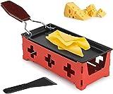 Raclette de queso, portátil, plegable, antiadherente, con luz de vela, con espátula para derretir queso, chocolate (rojo)