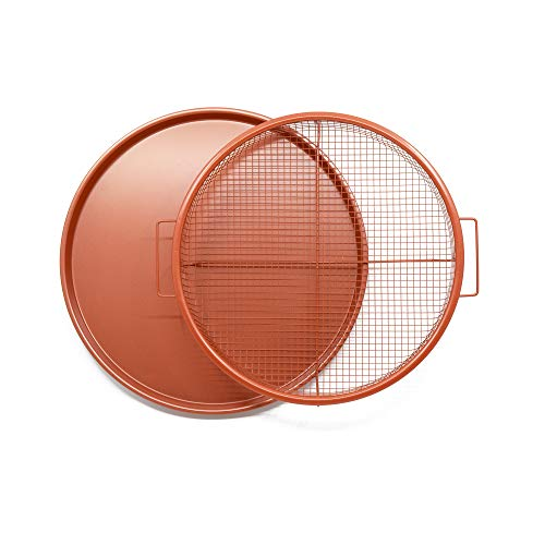 Chef Pomodoro Copper Crisper Tray, Deluxe Air Fry in Your Oven, 2-Piece Set, Baking Pan (Round - Large)