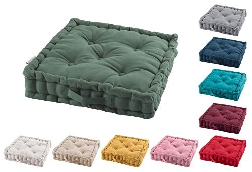TIENDAEURASIA® Cojines de Suelo - 100% Algodón Lisa - Ideal para sillas, Bancos, palets, Suelos - Uso Interior y Exterior (Verde Caqui)