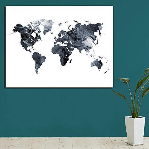 LLXPDZ Malen Nach Zahlen DIY Aquarell Weltkarte Leinwand Malerei Hd Digitaldruck Bunte Karte Bild Wand Poster Dekoration Für Schlafzimmer-40x50cm