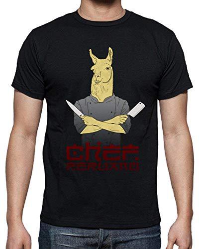 latostadora - Camiseta Chef Peruano para Hombre Negro M