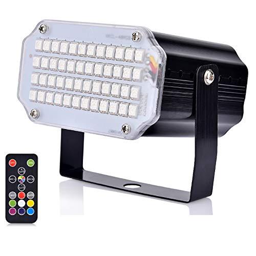Mini Luz Estroboscópica del LED, Hisome Activación por Sonido y Luz de Control de Velocidad de Destello Luz con 48 Brillante Iluminación del Escenario de Leds para Fiestas de Baile Cumpleaños DJ Bar