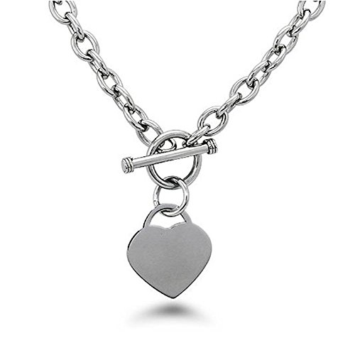 Noureda High Polished Stainless Steel Heart Charm Cable Chain Necklace with Toggle Clasp (Length: 18) by Noureda