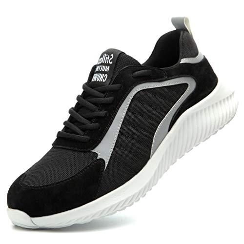 AFFINEST Zapatillas de Trabajo Hombre Zapatos de Seguridad S1 con Puntera de Acero Calzado Antideslizante Transpirables Industriales Zapatos Negro 39