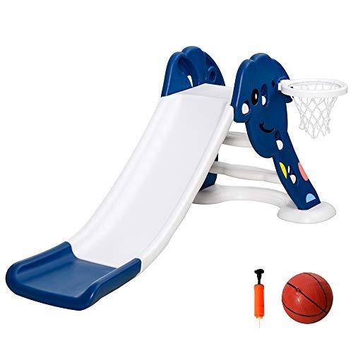 HOMCOM Tobogán Infantil de Jardín con Canasta de Baloncesto para Niños de +2 Años Juguete Interior y Exterior Carga 25 kg Accesorios Incluidos 160x35x68 cm Azul y Blanco