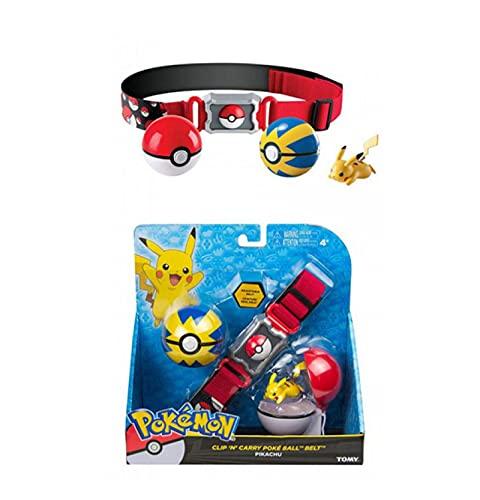 zzyou Figurines Pokemon Anime Mini Pikachu Pokeball Ceinture Figurine d'action Modèle en Boîte Jouet Enfants Cadeau d'anniversaire 4 Cm