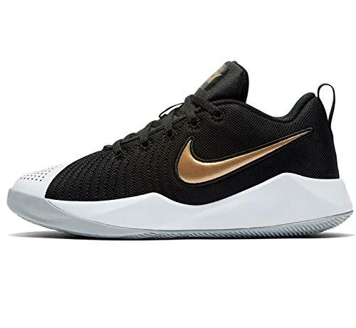 Nike Team Hustle Quick 2 Big Kids', Zapatillas de básquetbol, Black/Light Smoke Grey/White/Metallic Gold, 40 EU