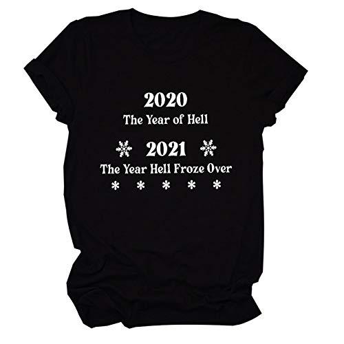 2020 El Año del Infierno 2021 El Año Infierno congelado por Camiseta Premium Camisa gráfica Divertida para Mujer (Color : Black, Size : Small)