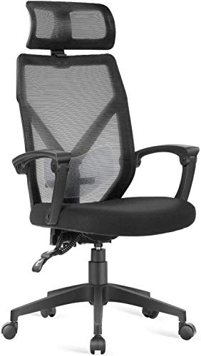 Dripex Chaise de Bureau Ergonomique Roulante en Maille, Fauteuil de Bureau Pivotante avec Appui-tête, Siège Bureau Dossier Inclinable, Capacité de Charge 110 kg - Noir