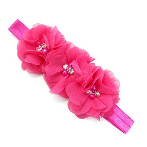 Huhu833 Baby Stirnbänder elastisches Stirnband Chiffon Blumen Fotografie Stirnband (Hot pink)