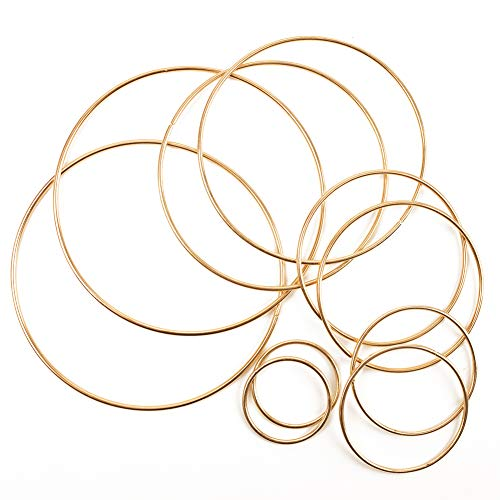 BigOtters Metal Floral Hoop, 10pcs Dream Catcher Rings Metal Rings Supplies Macrame Rings Craft for Making Wedding Wreath Decor, 5 Size(2inch, 3inch, 4inch, 5inch, 6inch)