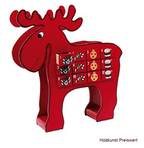 'LD decorazioni di Natale Calendario dell' Avvento 'alce in legno per bambini Natale Calendario stesso riempimento
