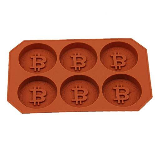 BYFRI 6 Rejillas Bitcoin Diseño Molde del Cubo De Hielo del Silicón De La Bandeja De Bricolaje Galletas De La Galleta Molde De La Hornada del Cubo De Hielo Maker para Whisky Cóctel Cubito De Hielo
