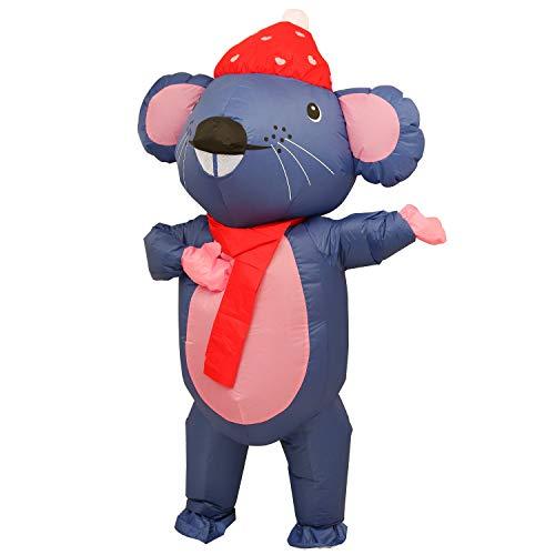 Powcan Disfraz Inflable Disfraz de ratón Adulto con Ventilador Lleno de Aire Disfraz Disfraz de Gran tamaño Mono Divertido para cumpleaños, Fiesta, Halloween, Boda, Vacaciones, Cosplay, L