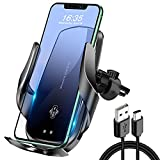 Wireless Car Phone Holder, 【Auto-Clamping & Long Arm &Stronger Clip&Ultra Sturdiness】 QC3.0 Cell Phone Mount for Car, Air Vent Mobile Mount, Qi Charger 15W in Vehicle,Compatible iPhone (Black)