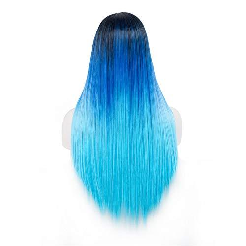 Perruque Longue Droite Bleu