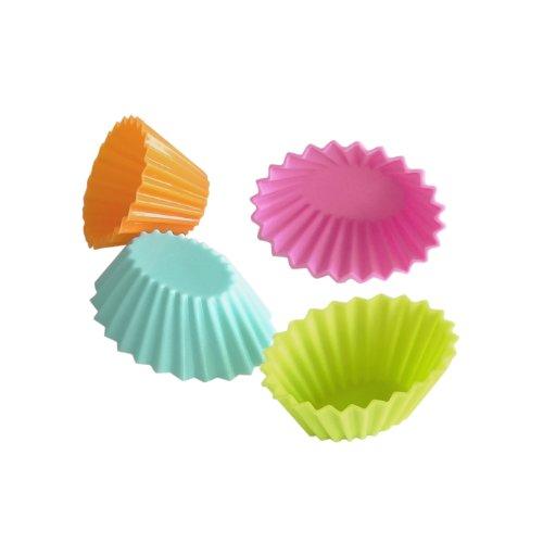 YooCook YC38993 Lot de 12 Caissettes Ovale Silicone Rose/Orange/Vert/Turquoise