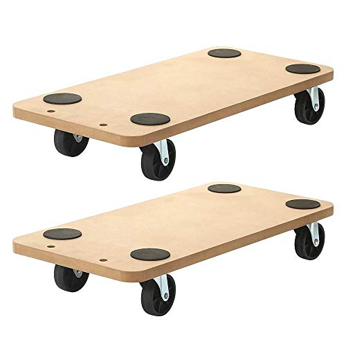 Factorduty 2 Pack of 23 X 11.5 Rectangle Wood Platform Dolly Dollies Furniture Dolly Mover Carrier Dolly Cart 500-LB Load Rating 3 Inch Wheel Pack of 2