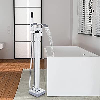 Votamuta Floor Mounted Waterfall Spout Tub Shower Faucet Free Standing Bathtub Filler 1 Handle with Handheld Spray Head,Chrome Polished