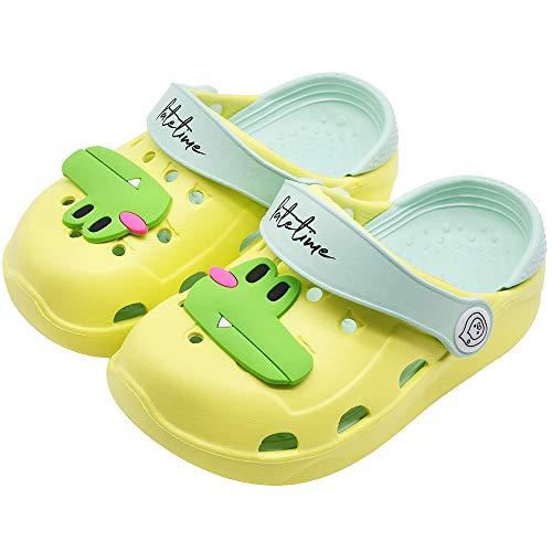 Kids Boys Girls Classic Clogs Cute Cartoon Lightweight Sandals Summer Slide Beach Water Shoes Shower Pool Slippers (Toddler/Little Kids) (10 M US Toddler, Yellow Frog)