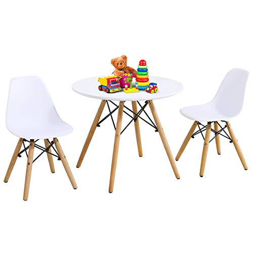 Costzon Kids Table and Chair Set, Kids Mid-Century Modern Style Table Set for Toddler Children, Kids Dining Table and Chair Set, 3-Piece Set (White, Table & 2 Chairs)