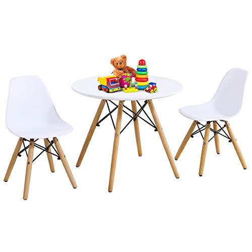 COSTWAY 3Tlg. Kindersitzgruppe, Kindermöbel Kindertischgruppe Set mit Esstisch und 2 Stühlen, Kindertisch weiß