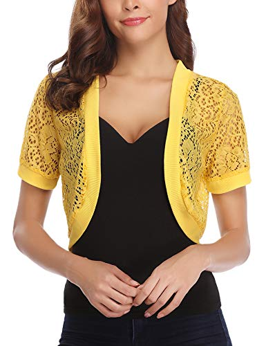 Aibrou Womens Short Cardigans Lace Shrugs Bolero for Wedding Dress X-Large Yellow