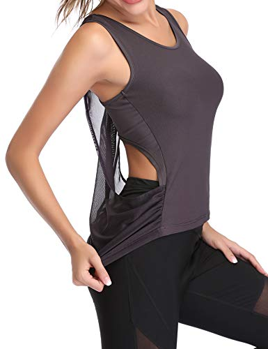 Hawiton Camiseta sin Mangas Deporte para Mujer Deportiva Tirantes Ligera Espalda Cruzada Tank Top para Fitness,Gimnasio,Yoga