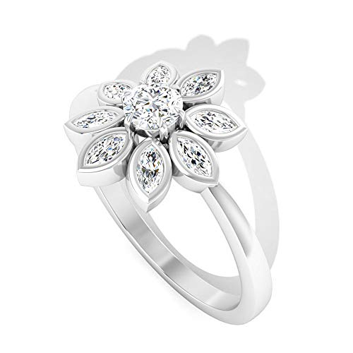 Rosec Jewels 10 quilates oro blanco marquise-shape round-brilliant-shape H-I Diamond