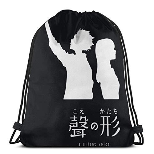 WH-CLA Drawstring Backpack Anime & Koe No Katachi (Dunkel) Rucksack Beutel Tasche Verstellbar Drawstring Bag Personalisierte Sportbeutel Unisex Kordelzug Rucksack Für Kinder Jugendliche Erwachsene