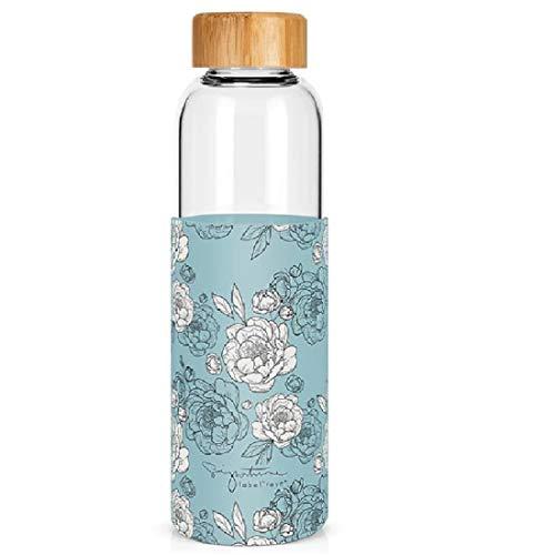 Label Tour - Botella de cristal de 550 ml, tapón de bambú, contorno de silicona para decoración de peonías (LTGLASS46) – 24 cm de alto y 6,8 cm de diámetro