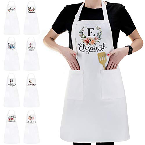 Personalized Kitchen Apron Initial Name Flowers Design - Customized Woman Man White Aprons Gift for Chef Cooking BBQ Grill Baking White Aprons - Gifts for Women Men - Unisex Cotton, Add Your Text -C02
