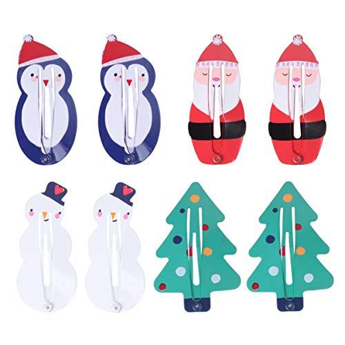 SOLUSTRE 8 stuks Kerstmis haarspelden Santa Sneeuwman Kerstboom Haarspelden Pinguïn Haarspelden Leuke Haarspelden Bobby Pins Kerstfeest Voorkeur Geschenken Decoratie (Kleurrijk Kleurrijk)