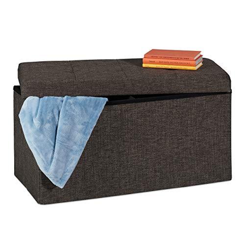 Relaxdays Sitzbank, mit Stauraum, faltbar, gepolstert, mit Trennwand, 84 l, Flur, Schlafzimmer, Truhenbank, braun-grau
