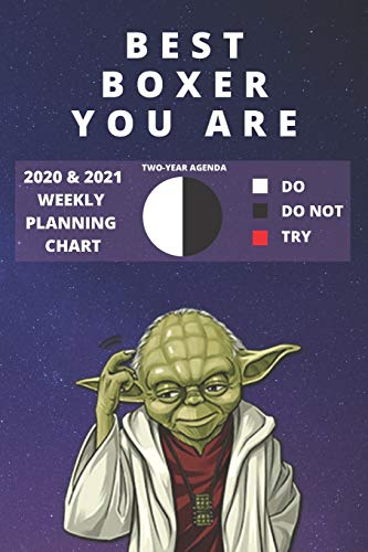 2020 & 2021 Two-Year Weekly Planner For Best Boxer Gift | Funny Yoda Quote Appointment Book | Two Year Agenda Notebook For Boxing: Star Wars Fan Daily ... Day Log For Box Fighters, Students & Coaches