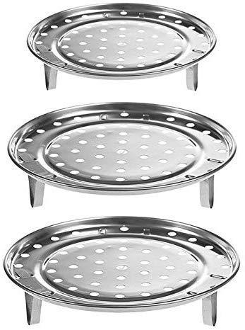 Acero Inoxidable 3pcs / Lot de la Bandeja de Vapor de Acero Inoxidable Estante Multifuncional Duradero Olla humeante Soporte Utensilios de Cocina Accesorios de Cocina