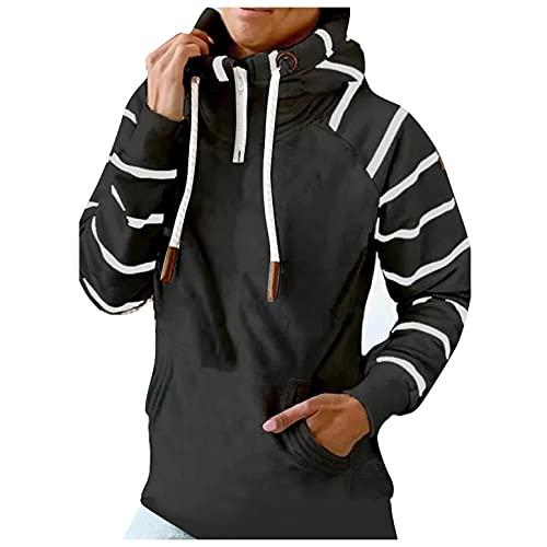 Mymyguoe Cute Hoodies for Girls Kawaii Pullover Teenager MäDchen Langarmshirt Regular Fit Winter Jumper 1/4 ReißVerschluss Stern-Streifen-Print Sweatshirts Rollkragen-Kapuzen-Sweatshirt Mit Kordelzug