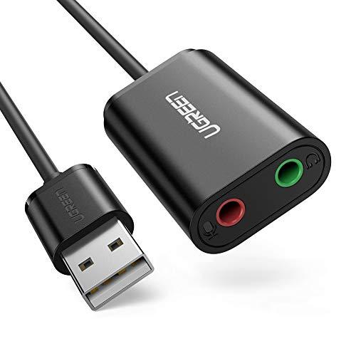 UGREEN USB オーディオ 変換アダプタ 外付け サウンドカード USB 3.5mm ミニ ジャック ヘッドホン・マイク端子 高音質 PS5 PS4,MacBook,Mac Mini,iMac,Windows PCなどに最適 ブラック