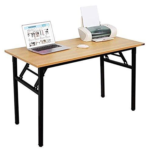 Sdesign Escritorio de Oficina Mesa de computadora Plegable Estación de Trabajo sin instalación, Teca, Teca y Negro, 120x60cm