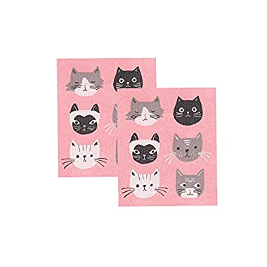 Now Designs Swedish Dishcloth, Set of Two, Cats Meow