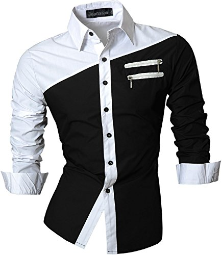 jeansian Herren Freizeit Hemden Shirt Tops Mode Langarmshirts Slim Fit Z015 Black M