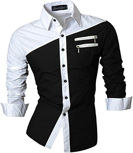 Jeansian Hommes Chemises Solid Manches Longues Slim Fit Mode pour Homme Casual Chemises Manches Longues Z015 Black L