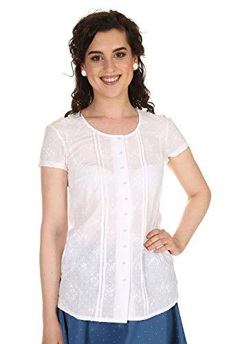 Hammerschmid Damen Bluse Kurzarm Baumwolle, Trachtenbluse mit Lockstickerei Pia 2015400-00 weiß Gr.40